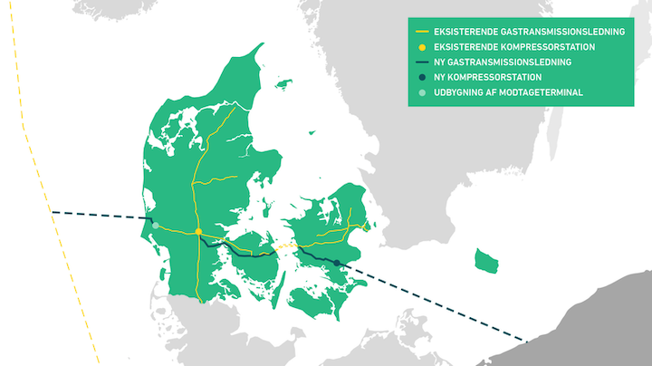 Map of the Baltic Pipe project.