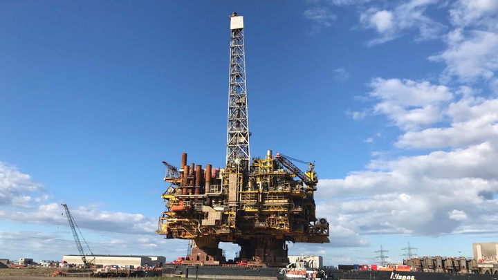 The Brent Bravo platform topsides at Able Seaton Port in Teesside, northeast England.