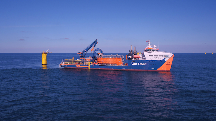 The Nexus laying inter array cables at the Deutsche Bucht offshore wind farm in the German North Sea.
