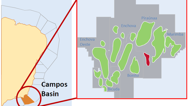 Map of the Enchova field in the Campos basin offshore Brazil.
