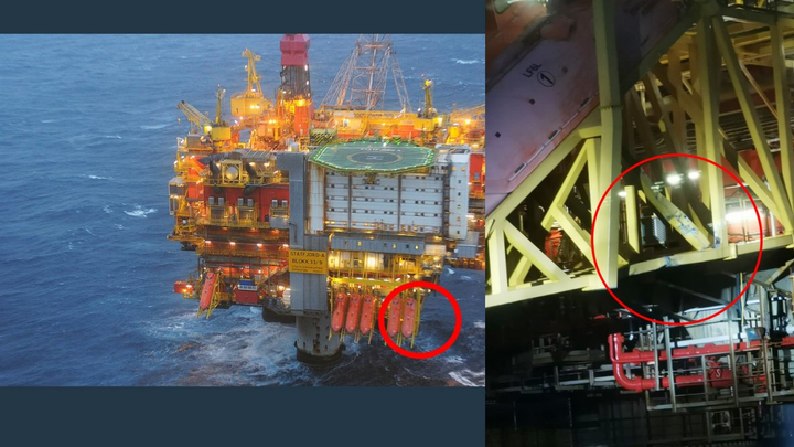 The picture shows the place where the platform supply vessel Sjøborg collided with the Statfjord A platform – and the visible damage to the hanger for the outermost of the lifeboats.