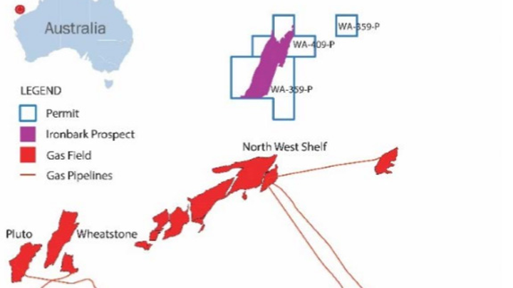 The Ironbark gas prospect is in the WA-359-P permit in the Carnarvon basin offshore Western Australia.