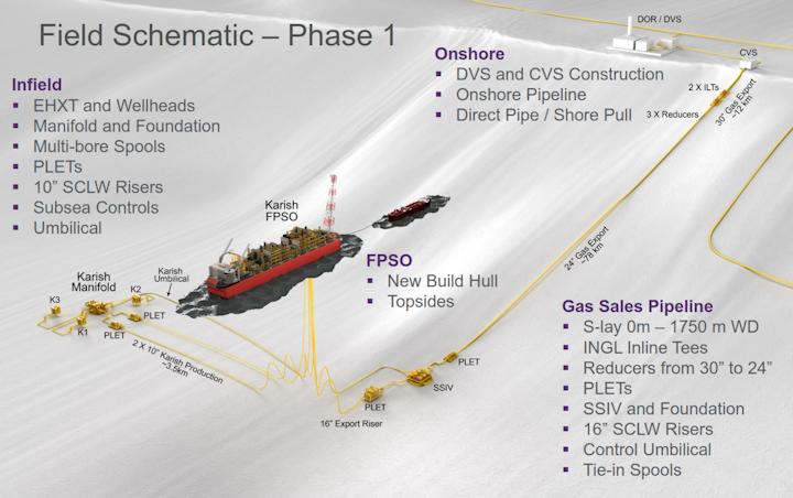 Field schematic of the Karish Phase 1 development offshore Israel.