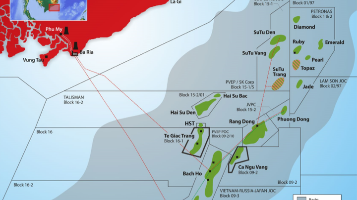 Map of SOCO's operations offshore Vietnam.