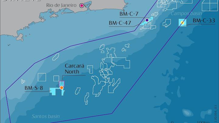 The BM-S-8 block in the Santos basin offshore Brazil.