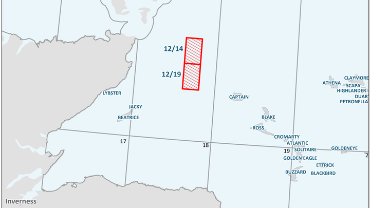Blocks 12/14 and 12/19 in the Moray Firth area off northeast Scotland.
