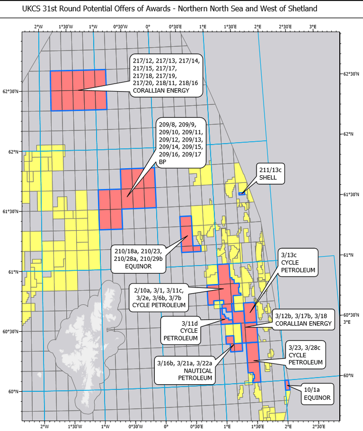 UKCS 31st round potential offers of awards - northern North Sea and west of Shetland