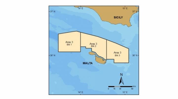Blocks 1, 2, and 3 of Area 3 offshore Malta.