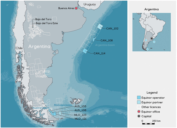 Equinor acquired seven blocks in Argentina's first offshore license round.
