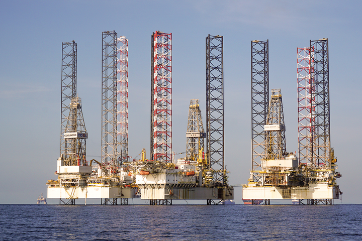Stacked jackup rigs awaiting industry activity to increase.