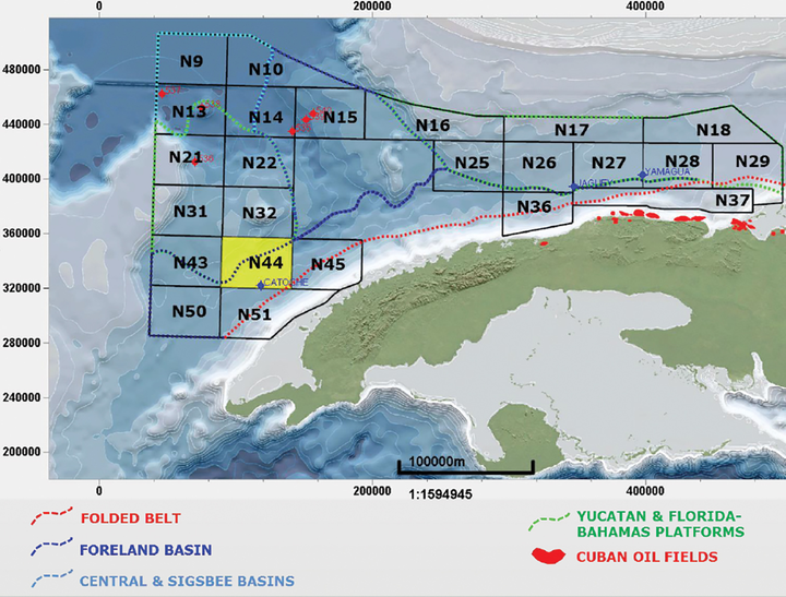 Blocks offered under Cuba's 1st offshore licensing round.
