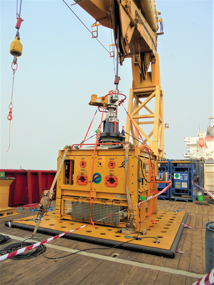 The 10ksi subsea safety module on deck, pre-deployment.
