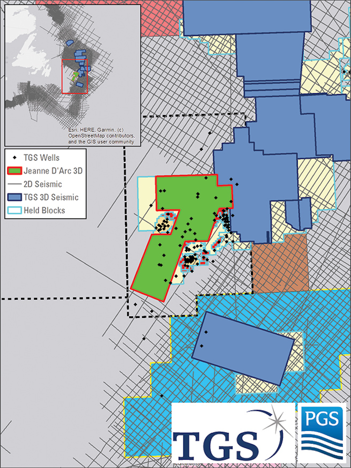 The Jeanne d'Arc High Density 3D multi-client survey will cover about 5,000 sq km offshore Newfoundland. (Courtesy TGS and PGS)
