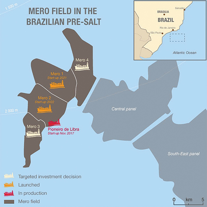 Petrobras and its partners plan four FPSOs to develop the giant Mero field in the Santos basin. (Courtesy Total)