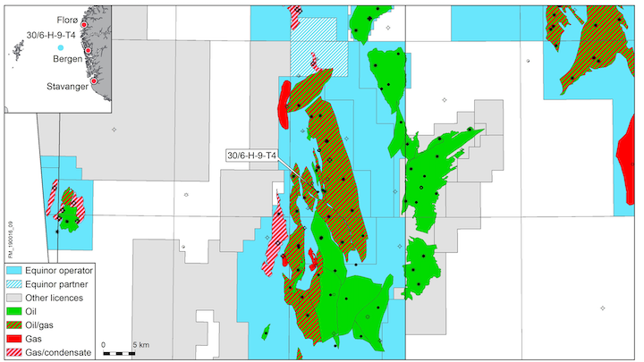 The 30/6-H-9-T4 well is in the Oseberg area of the Norwegian North Sea.
