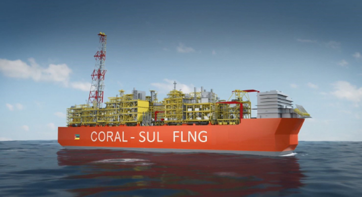 Rendering of the Coral Sul FLNG vessel. Construction works on the facility are ongoing in seven operational centers across the world.