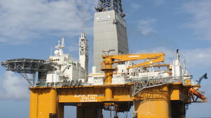 The semisubmersible drilling rig Deepsea Stavanger.
