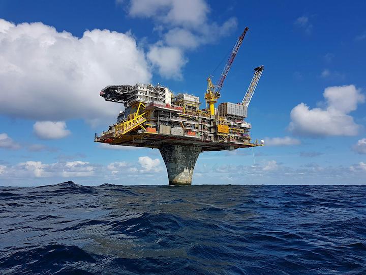 Draugen produces through a concrete gravity base platform in the Norwegian Sea.