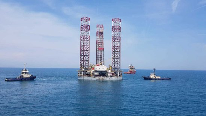 The jackup GSP Uranus approaching installation in the Black Sea.