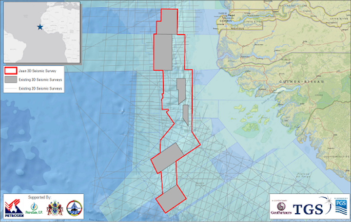 Jaan 3D survey in the southern portion of the MSGBC basin offshore northwest Africa.