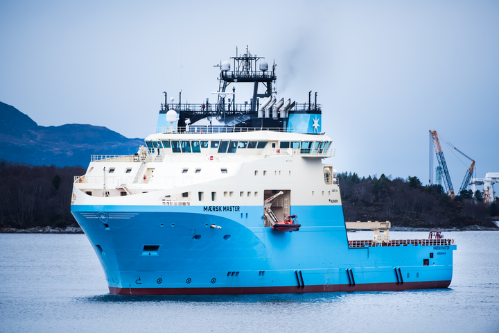 The Maersk Master is a Starfish-class anchor handling vessel.