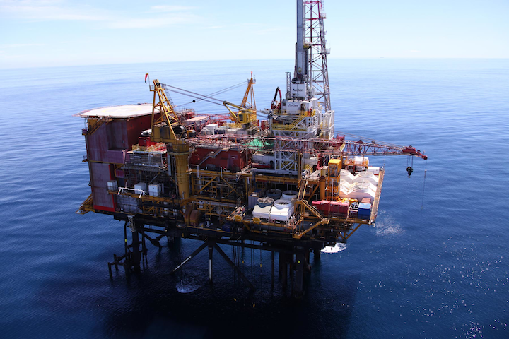 The modular drilling rig Archer Emerald during its first campaign on the Maui A platform offshore New Zealand.