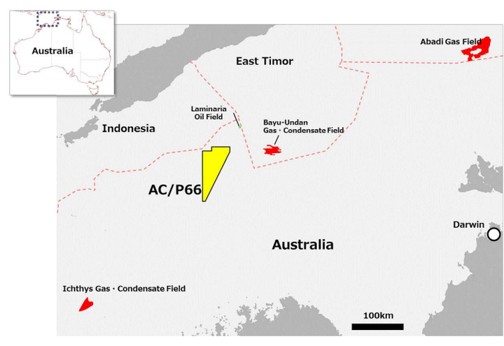 The AC/P66 block on the North West Shelf covers an area of 3,460 sq km (1,336 sq mi), in water depths of 60-500 m (187-1,640 ft).