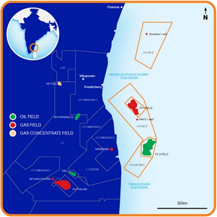 Map of CY-OS/2 in the Cauvery basin offshore southeast India.