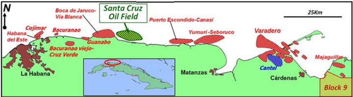 The Santa Cruz oil field is part of Cuba's northern fold belt.