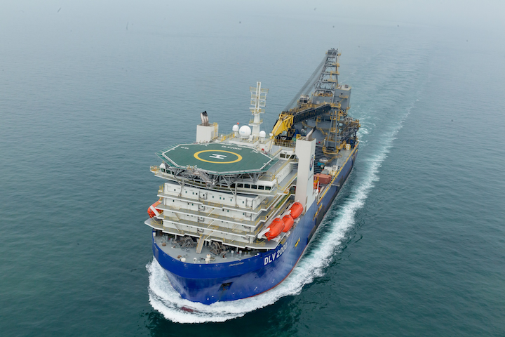 The DLV 2000 recently completed its first piggy-back pipelay at Reliance's deepwater KG-D6 project offshore eastern India.