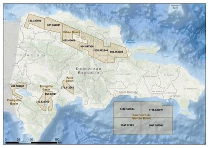 The four offshore blocks offered in the Dominican Republic's first licensing round are in the San Pedro basin.