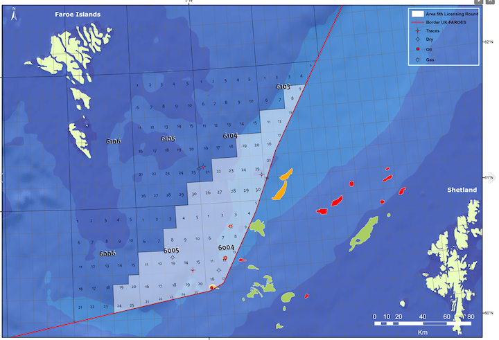Map of licensing area for the 5th Faroese offshore licensing round
