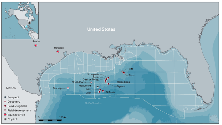 Equinor's operations in the US Gulf of Mexico.