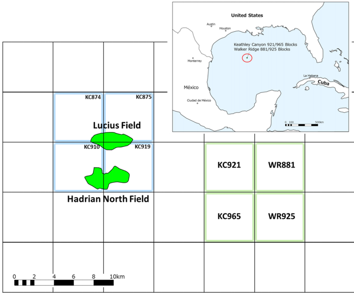 Keathley Canyon blocks 921 and 965 and Walker Ridge blocks 881 and 925 are about 380 km (236 mi) offshore Louisiana.