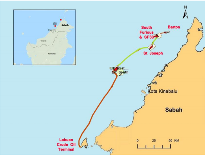 Map of the North Sabah enhanced oil recovery PSC offshore Malaysia.