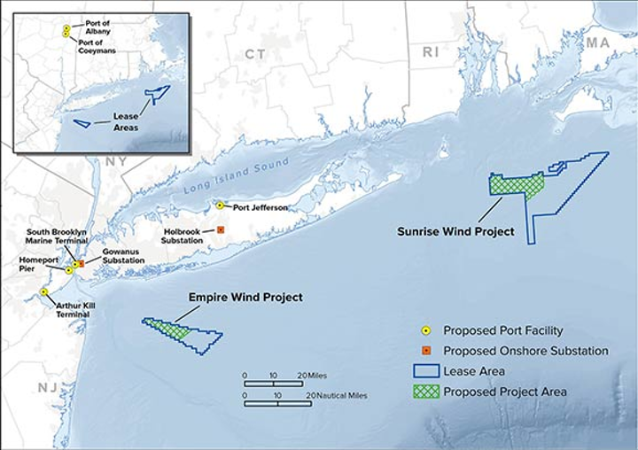 Locations of the proposed Empire Wind and Sunrise Wind projects offshore New York.