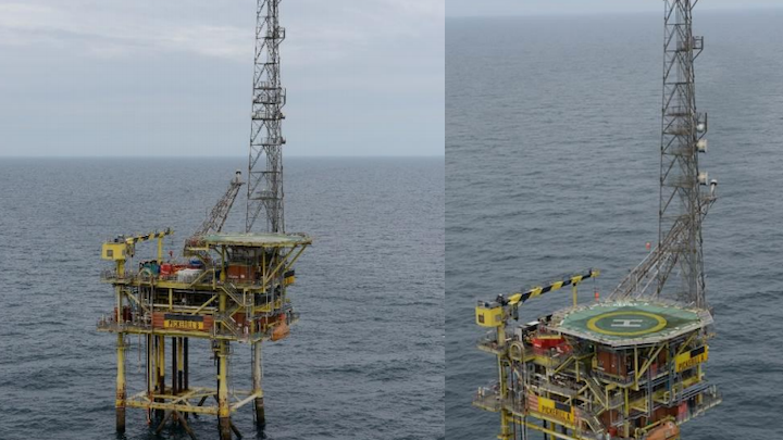 The normally unmanned platforms Pickerill A (right) and Pickerill B (left) in the UK southern North Sea.