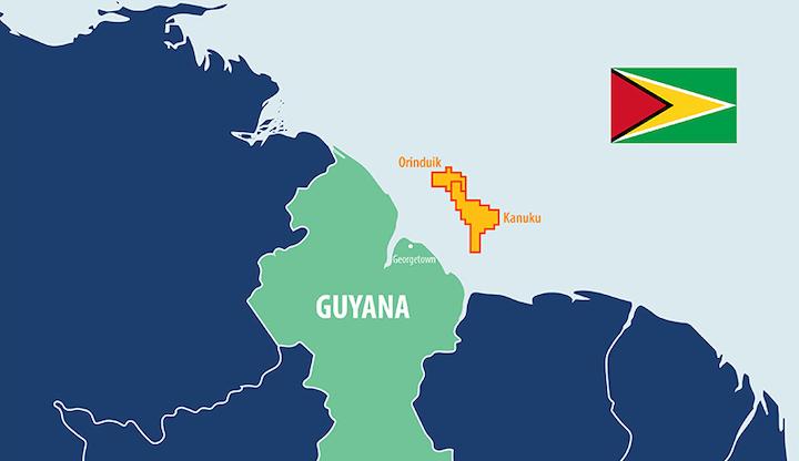 The Orinduik and Kanuku blocks offshore Guyana.