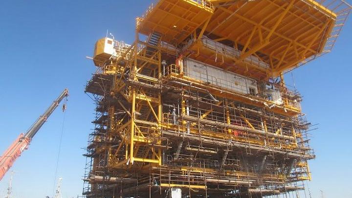 The S1 platform topsides for the Salman oil field development at the Khorramshahr Yard in Iran.