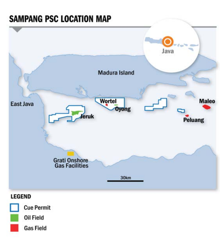 Map of the Sampang production-sharing contract offshore Indonesia.