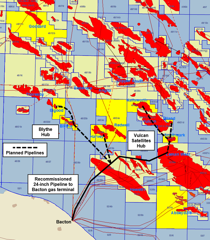 Independent Oil and Gas' licences and recommissioned Thames gas pipeline (PL370).