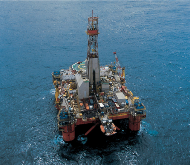 The semisubmersible drilling rig Transocean Leader.