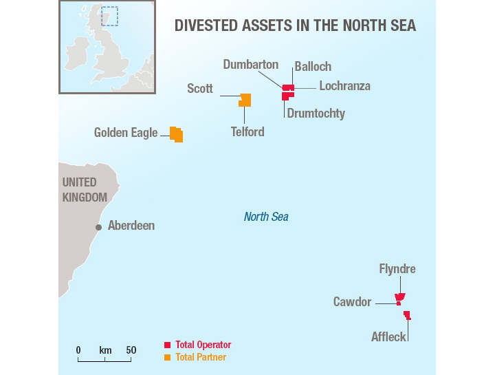 Map of Total's divested assets in the UK central North Sea.