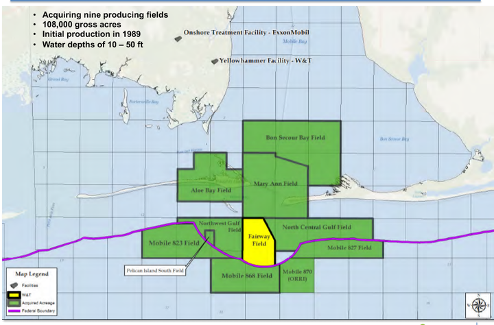 The acquisition consists of working interests in nine shallow water producing fields and related operatorship in the Mobile Bay area in the eastern Gulf of Mexico.