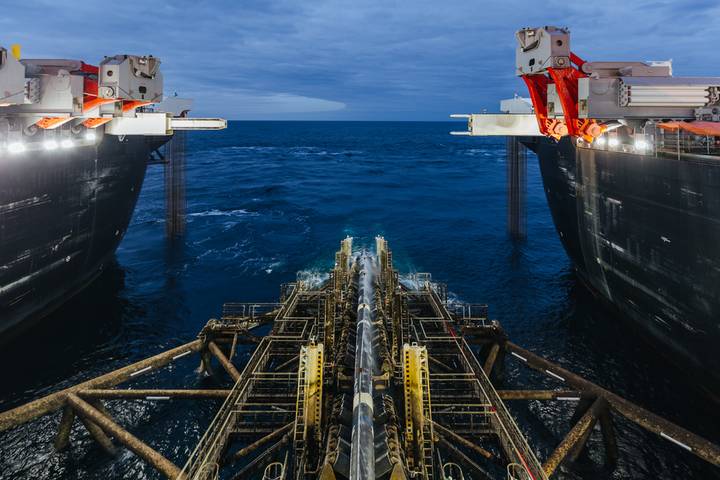 The Allseas pipelay vessel Pioneering Spirit completes construction of the offshore section of the TurkStream pipeline in the Black Sea.