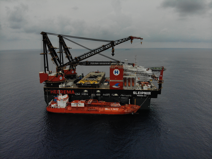 The Sleipnir during LNG bunkering, 12 mi (19 km) offshore Indonesia.