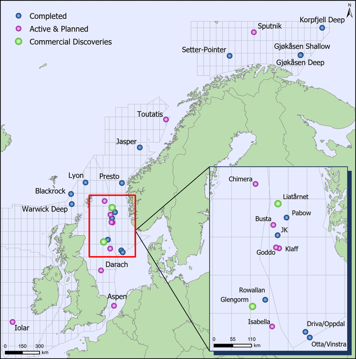 High impact exploration wells in northwest Europe in 2019.