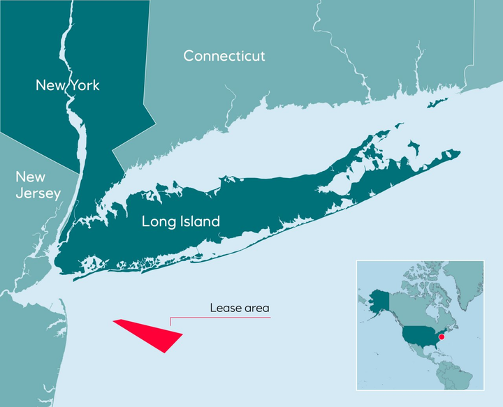 The Empire Wind site extends 15-30 mi (24-38 km) southeast of Long Island, spans 80,000 acres, and covers water depths between 65 and 131 ft (20 and 40 m).