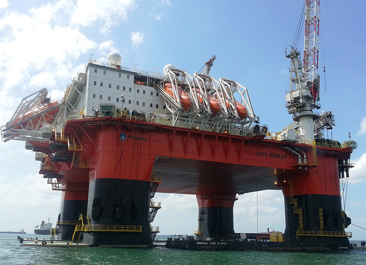 The semisubmersible accommodation vessel Safe Boreas is working for Equinor at the Mariner field in the UK northern North Sea.