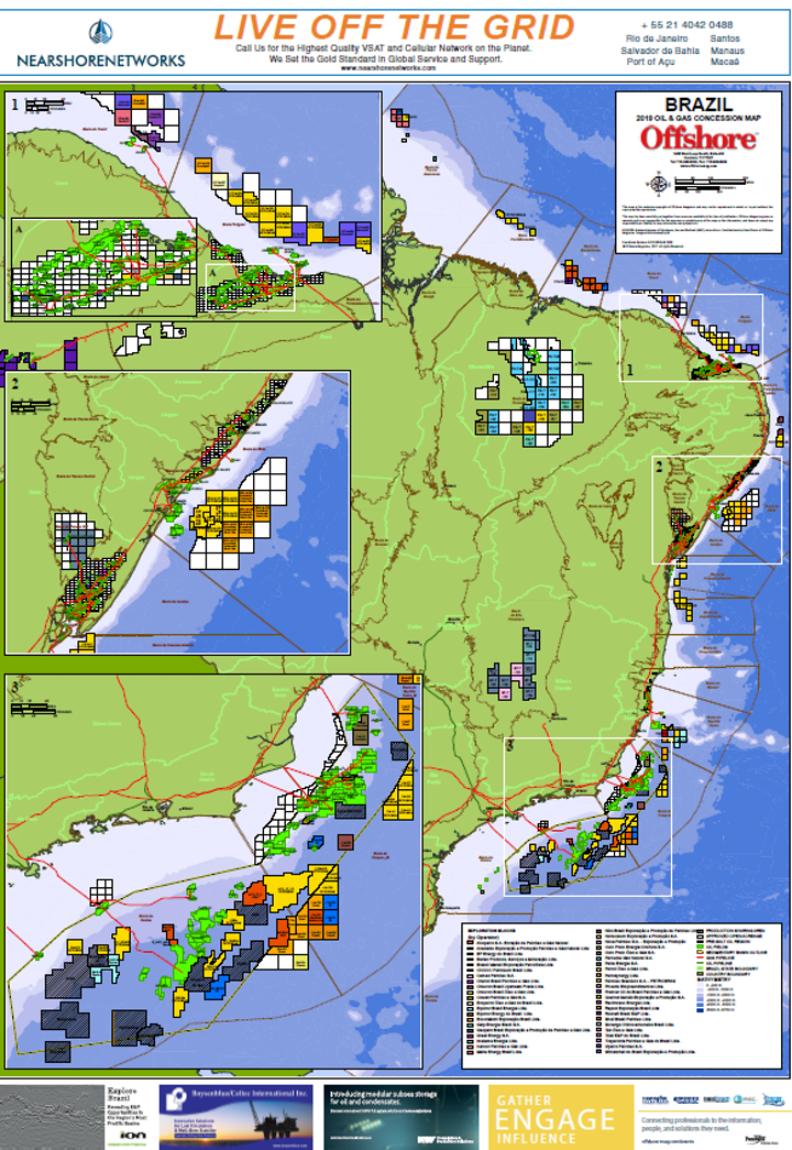2019 Brazil Oil & Gas Concession Map | Offs on ports in gulf of mexico map, ships in gulf of mexico map, buoys in gulf of mexico map,